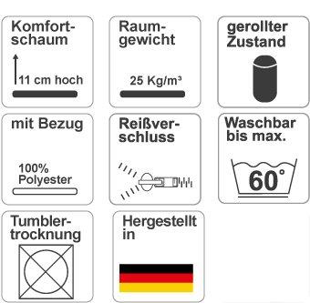 MSS 100700-WW-190.140.11 Matratze für Wohn-Wagen/Mobil / Boot inklusive Bezug, 190 x 140 cm -